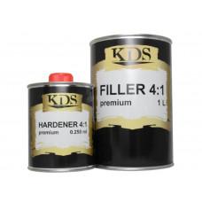 KDS - FILLER Premium грунт акриловий 4:1 сірий 1л + затверджувач 0,25л